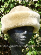 beige suede finish sheepskin hat
