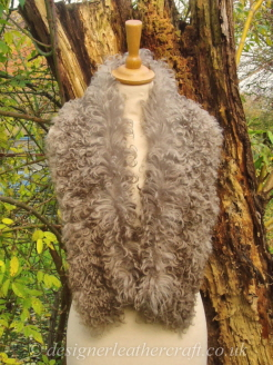 44 inch Taupe Pintos Tigrado Shearling Scarf Worn as a Collar