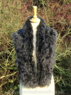 50 inch Steel Tipped Tigrado Shearling Scarf Worn  as a Collar