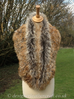 52 inch Pavane Tigrado Shearling Scarf Worn as a Collar
