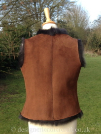 Back of the Marron Brown Shearling Gilet