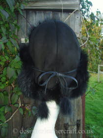 Black Toscana Shearling Hat Tied Back