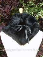 Black Toscana Shearling Wrap Tied at the Back