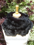 Black Toscana Shearling Wrapped at the Neck