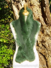 Embossed Nappalan Side of the 48 inch Emerald Green Toscana Shearling Scarf