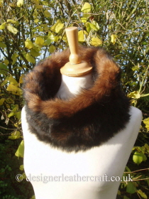 Medium Size Toscana Shearling Snood in Tan Tipped