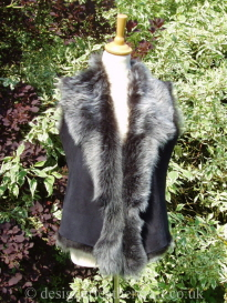 Toscana Shearling Waterfall Gilet in Black Brisa